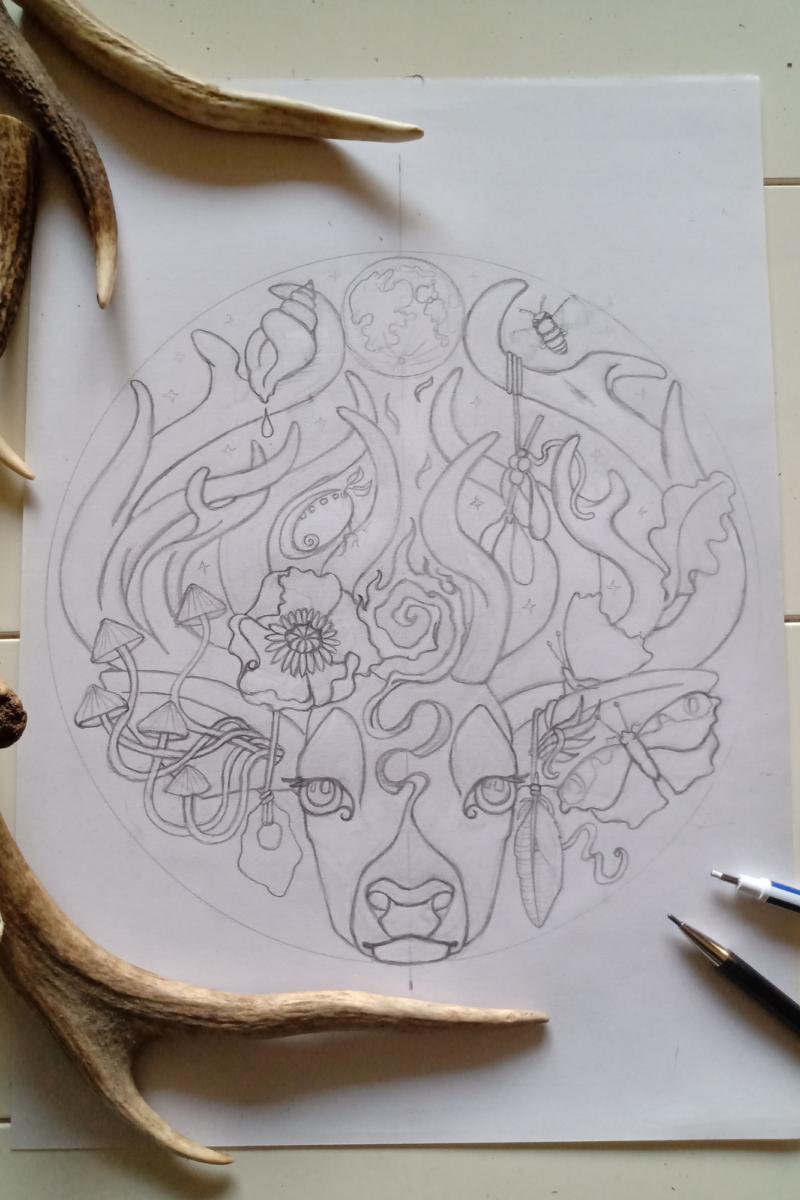 The Stag's Head - Pencil Sketch Design