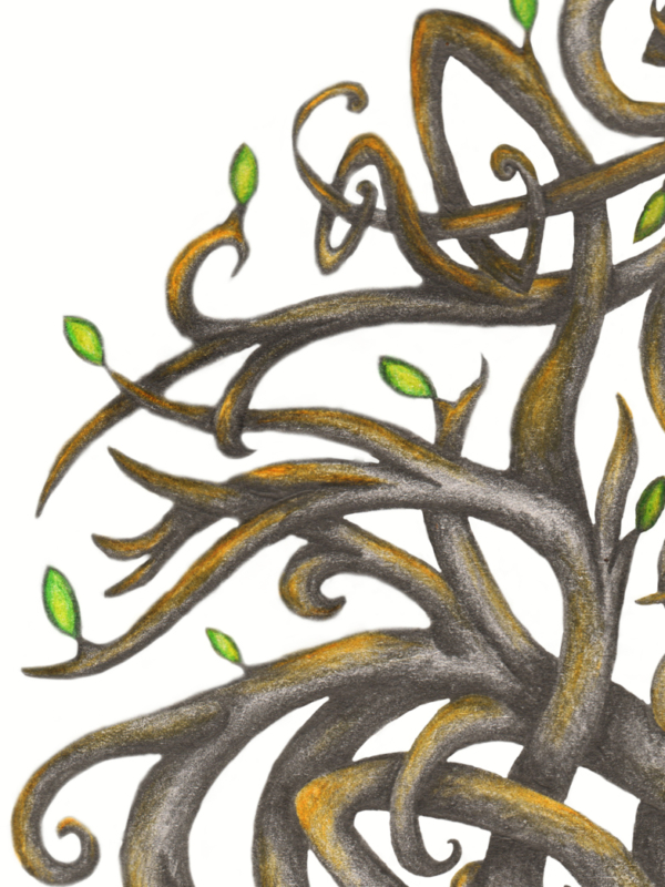 Yggdrasil Tattoo Design Viking Norse Tree of Life Knotwork Sleeve - Branch Leaves Detail - Graphite and Colour Pencil Drawing by Imogen Smid