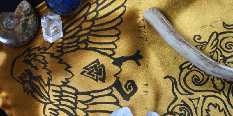 Yggdrasil Altar Cloth featuring Swirly Ash Tree with Ratatoskr, Veðrfölnir and Níðhöggr Nidhogg - Gold Coloured Satin Cloth Raven Detail - Hand Printed with Hand Carved Lino Stamp