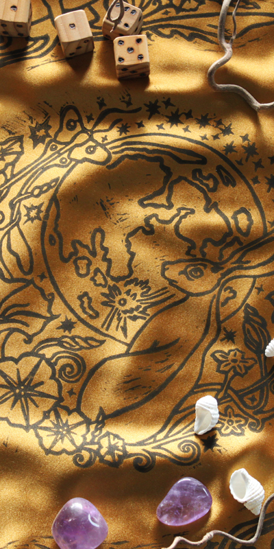Moongazing Hare Altar Cloth with Full Moon, Moon Moth or Lunar Moth, Stars and Moon Flowers - Gold Coloured Satin Cloth - Hand Printed with Hand Carved Lino Stamp