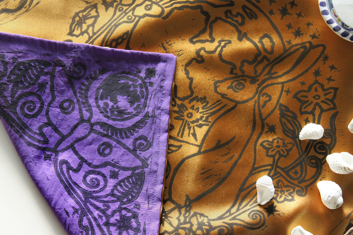 Moongazing Hare Altar Cloth with Full Moon, Moon Moth or Lunar Moth, Stars and Moon Flowers - Gold Coloured Satin and Purple Taffeta Cloth - Hand Printed with Hand Carved Lino Stamp