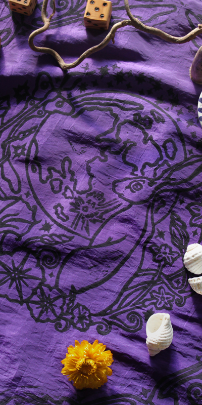 Moongazing Hare Altar Cloth with Full Moon, Moon Moth or Lunar Moth, Stars and Moon Flowers - Purple Taffeta Cloth - Hand Printed with Hand Carved Lino Stamp