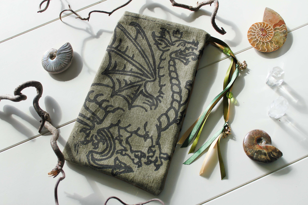 Heraldic Dragon Pouch Traditional Styled Four Legged Winged Dragon with Crown - Moss Green Denim Pouch with Gold Details - Hand Printed with Hand Carved Lino Stamp