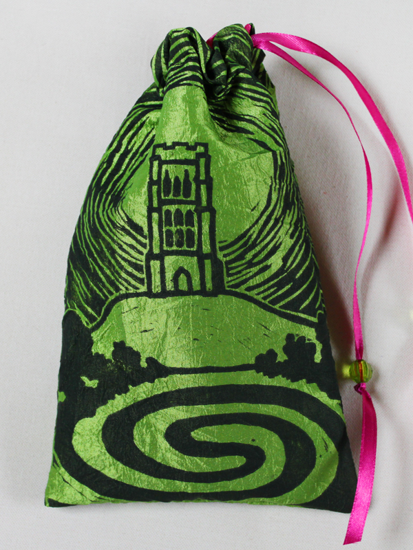 Glastonbury Tor Pouch, Mystical Avalon Tower on Hill with Glastonbury Spiral White Spring - Bright Green Taffeta Pouch with Hot Pink Details - Hand Printed with Hand Carved Lino Stamp