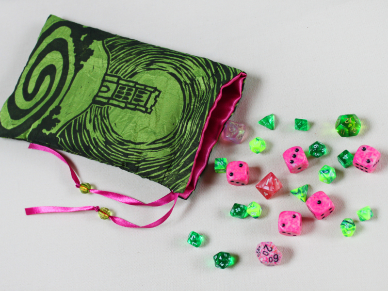 Glastonbury Tor Pouch, Mystical Avalon Tower on Hill with Glastonbury Spiral White Spring - Bright Green Taffeta Dice Bag with Hot Pink Details with Dice - Hand Printed with Hand Carved Lino Stamp