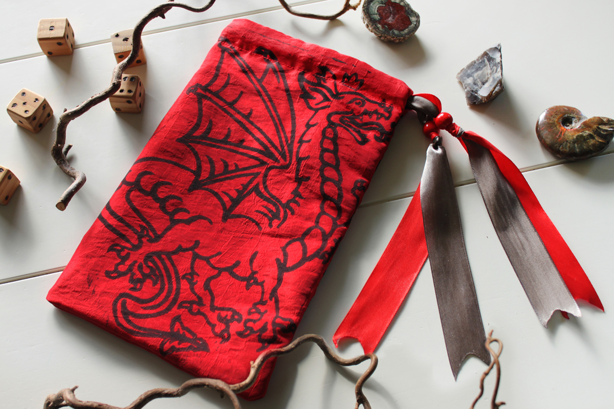 Heraldic Dragon Pouch Traditional Styled Four Legged Winged Dragon with Crown - Red Taffeta Pouch with Grey Details - Hand Printed with Hand Carved Lino Stamp