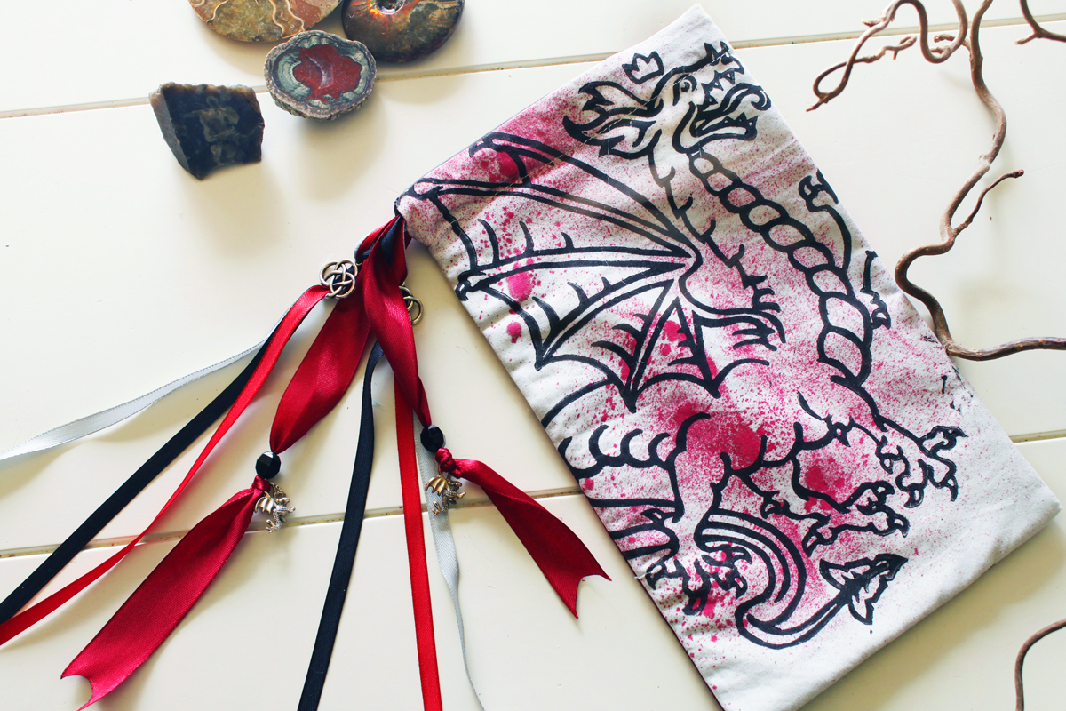Heraldic Dragon Pouch Traditional Styled Four Legged Winged Dragon with Crown - White Cotton Pouch with Red Spray Splatter - Hand Printed with Hand Carved Lino Stamp