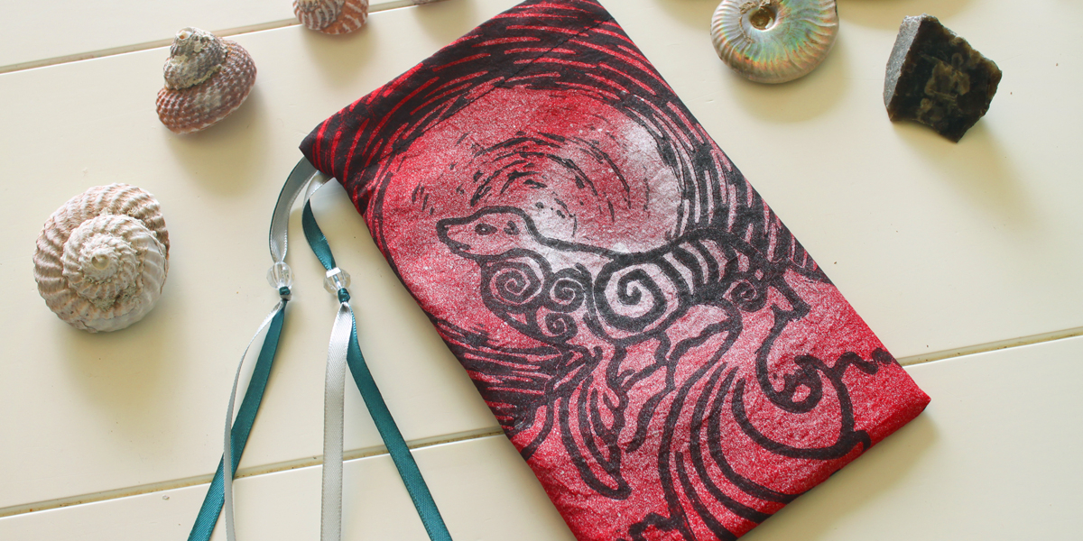 Selkie Pouch Scottish Irish Welsh Mythology Folklore Sea Creature - Red Taffeta Pouch with Silver and Teal Details - Hand Printed with Hand Carved Lino Stamp