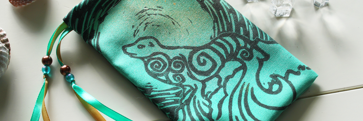 Selkie Pouch Scottish Irish Welsh Mythology Folklore Sea Creature - Mint Coloured Cotton Pouch with Gold Spray and Ribbons - Hand Printed with Hand Carved Lino Stamp