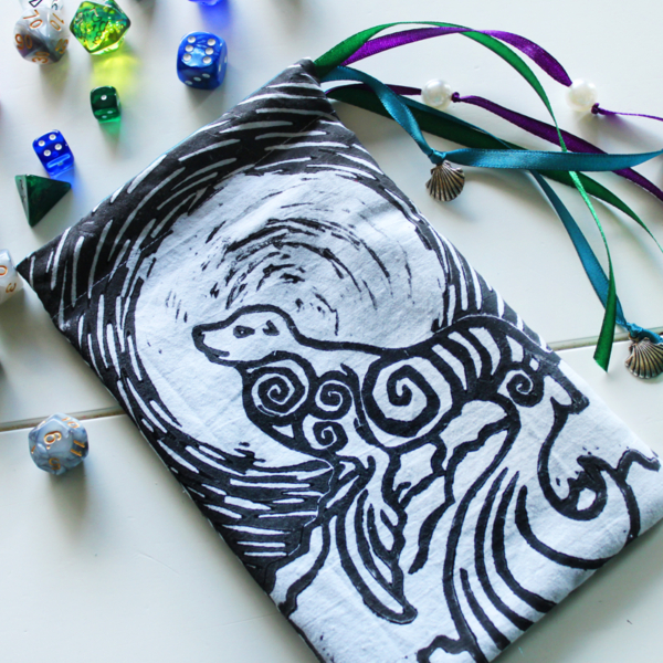Selkie Pouch Scottish Irish Welsh Mythology Folklore Sea Creature - Black and White Cotton Pouch with Sea Inspired Blue Purple and Green Ribbons - Hand Printed with Hand Carved Lino Stamp