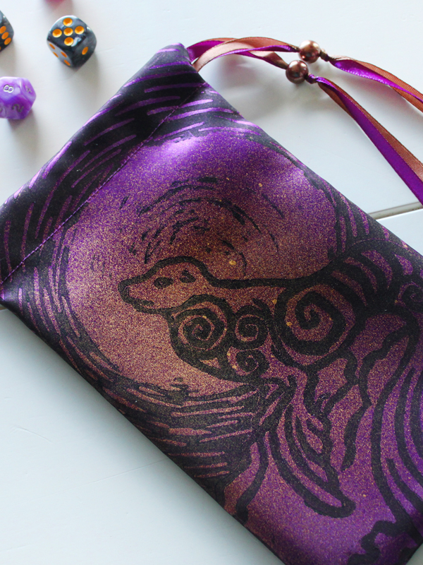 Selkie Pouch Scottish Irish Welsh Mythology Folklore Sea Creature - Purple Satin Pouch with Copper Coloured Details - Hand Printed with Hand Carved Lino Stamp