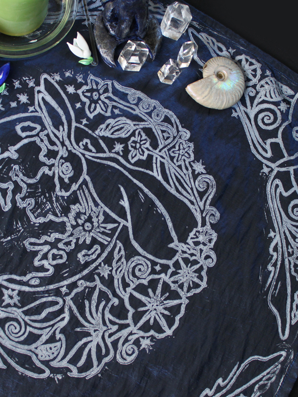 Moongazing Hare Altar Cloth with Full Moon, Moon Moth or Lunar Moth, Stars and Moon Flowers - Dark Blue Taffeta Cloth - Hand Printed with Hand Carved Lino Stamp