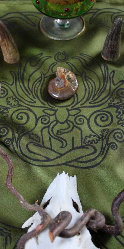 Cernunnos Altar Cloth Herne the Horned God Ancient Forest Fertillity Deity with Stag Antlers Celtic Torc Necklace, Snake and Oak Leaves - Green Satin Cloth with Horn, Bone, Twig, Glass and Ammonite Attributes - Hand Printed with Hand Carved Lino Stamp