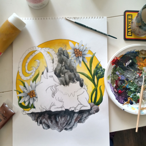 Mounatain Goat Elder featuring Capricorn Goat, Mountain Range and Edelweiss - Art Illustration Work in Progress WIP - Hand Painted in Acrylic by Imogen Smid