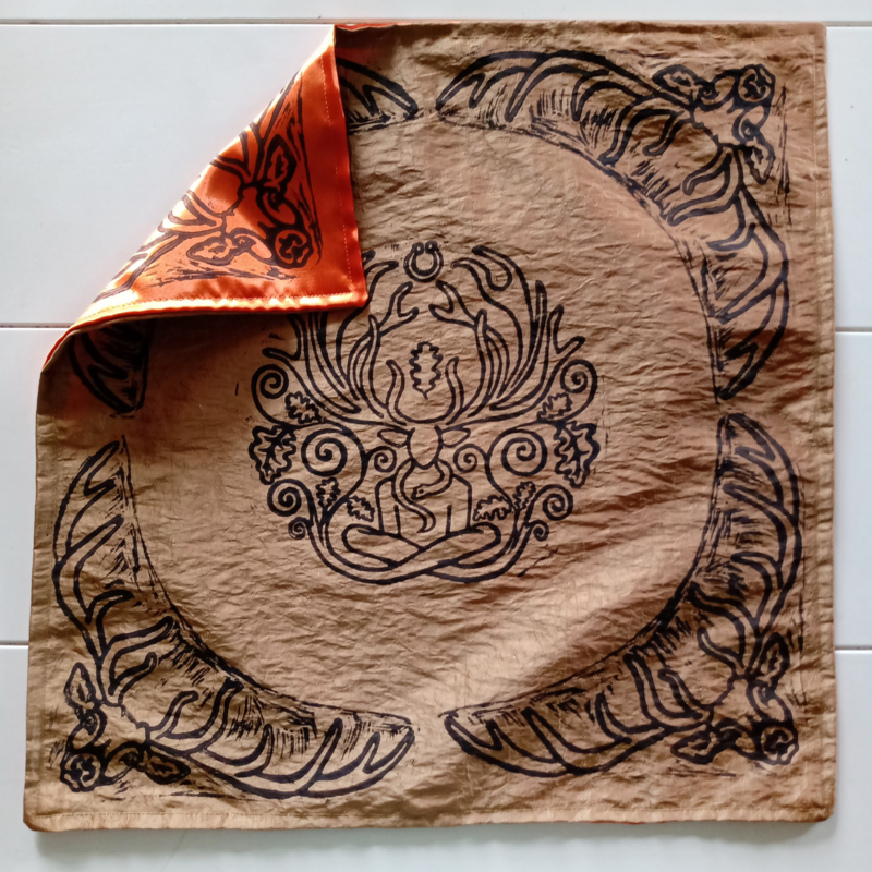 Cernunnos Altar Cloth Herne the Horned God Ancient Forest Fertillity Deity with Stag Antlers Celtic Torc Necklace, Snake and Oak Leaves - Gold and Orange Custom Cloth - Hand Printed with Hand Carved Lino Stamp