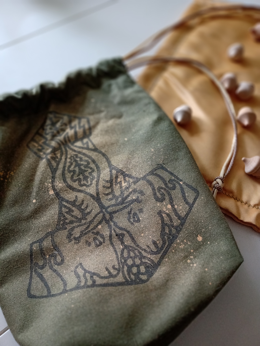 Mjollnir Pouch and Runes Cloth Set Thor's Hammer with Thor's Goats Tanngrisnir and Tanngnjóstr, Oak Leaves and Grains - Moss Cotton Mjollnir Pouch with Copper Coloured Spray - Hand Printed with Hand Carved Lino Stamp