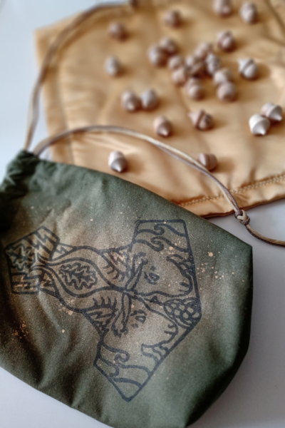 Mjollnir Pouch and Runes Cloth Set Thor's Hammer with Thor's Goats Tanngrisnir and Tanngnjóstr, Oak Leaves and Grains - Mjollnir Pouch with Runes on Cloth - Hand Printed with Hand Carved Lino Stamp