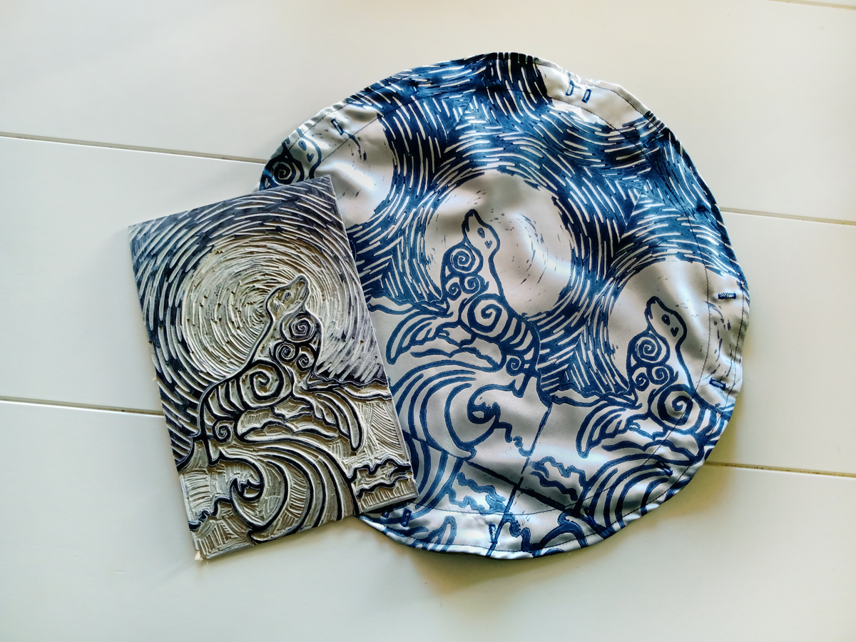 Selkie Pouch Scottish Irish Welsh Mythology Folklore Sea Creature - Selkie Pouch - Blue and Silver Convertible Travel Altar Cloth and Pouch with Hand Carved Lino Stamp - Hand Printed with Hand Carved Lino Stamp