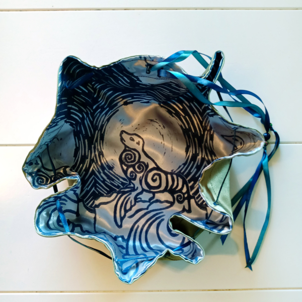 Selkie Pouch Scottish Irish Welsh Mythology Folklore Sea Creature - Circular Blue and Silver Convertible Travel Altar Cloth and Pouch - Hand Printed with Hand Carved Lino Stamp