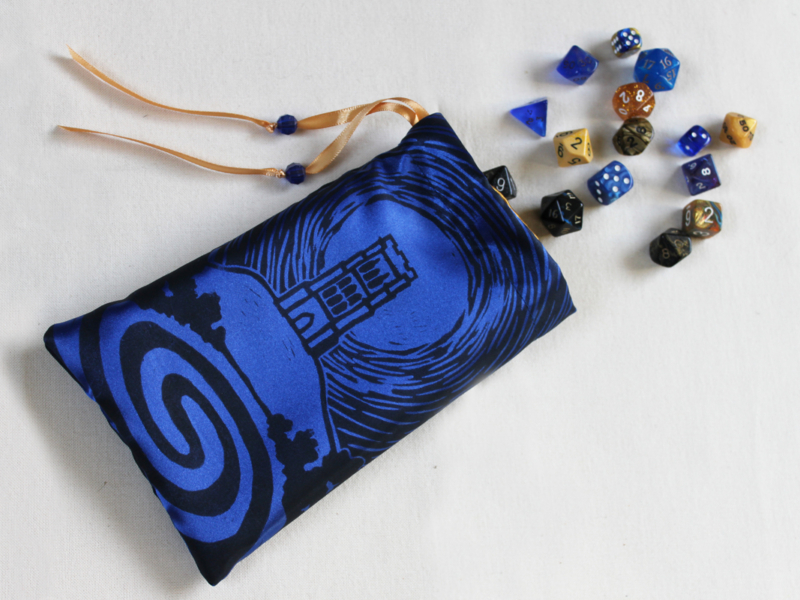 Glastonbury Tor Pouch, Mystical Avalon Tower on Hill with Glastonbury Spiral White Spring - Dark Blue Satin Dice Bag with Gold Details - Hand Printed with Hand Carved Lino Stamp