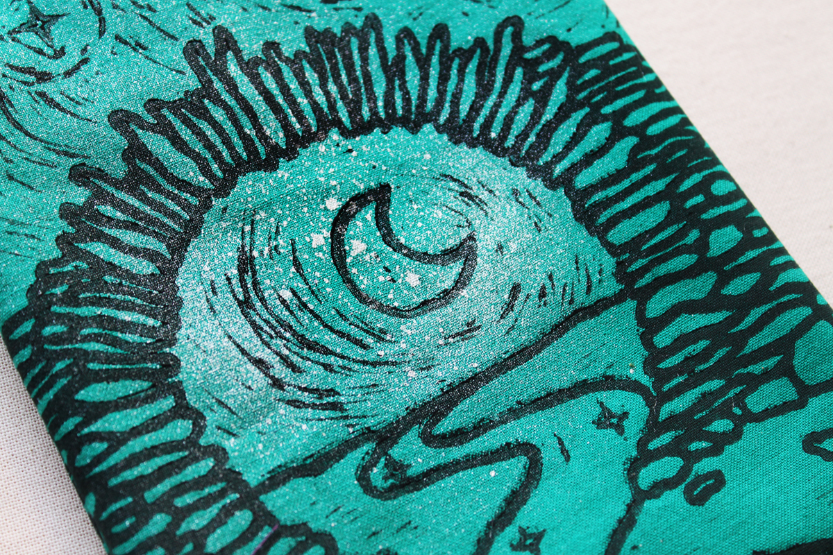 Moon Gate Pouch with Stars from Asian Garden Culture - Teal Coloured Cotton Pouch with SIlver Spray Close Up - Hand Printed with Hand Carved Lino Stamp