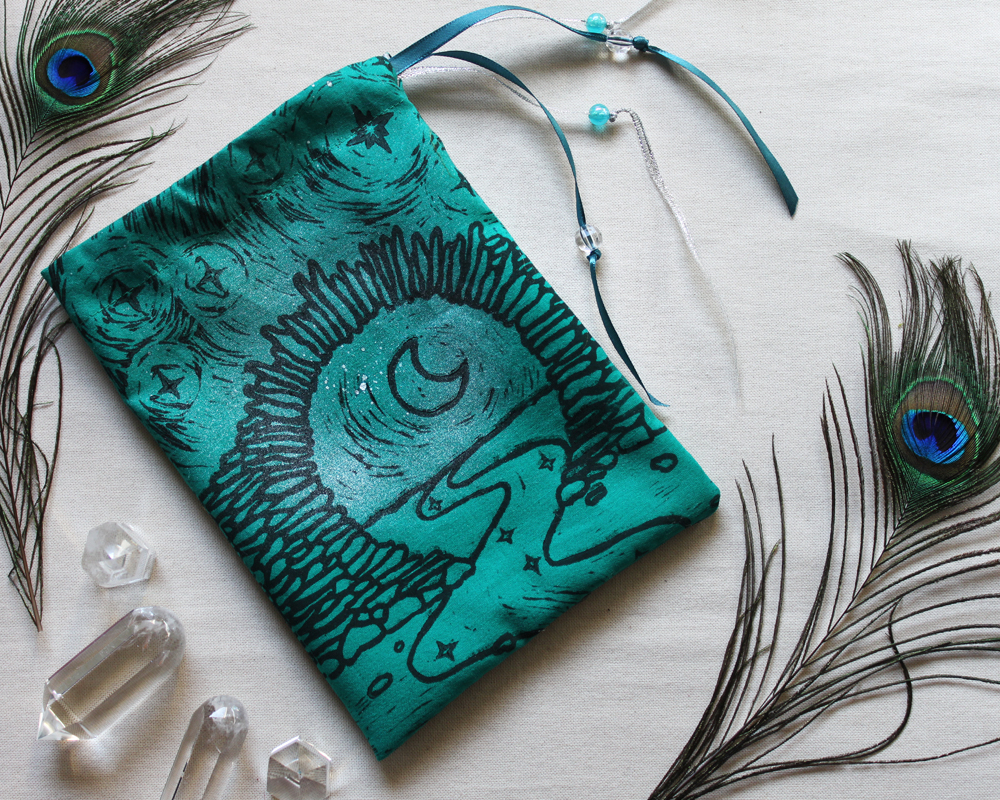 Moon Gate Pouch with Stars from Asian Garden Culture - Teal Coloured Cotton Pouch with SIlver Spray - Hand Printed with Hand Carved Lino Stamp