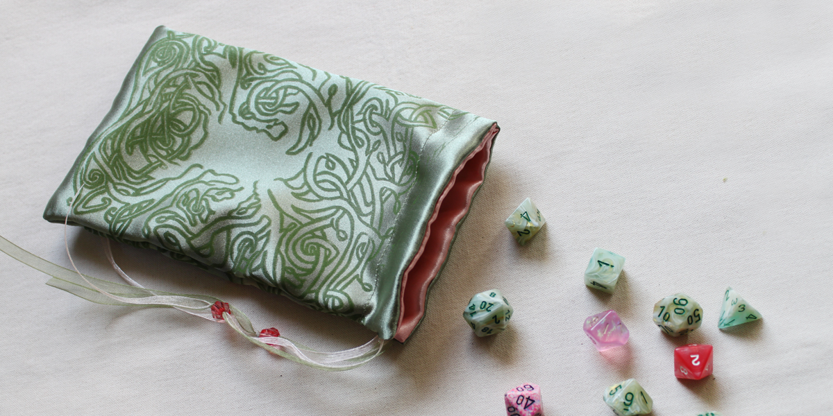 Celtic Tree Pouch Celtic Knotwork Motif Tree with Leaves - Antique Green Satin Pouch with Pale Pink Details with Dice - Hand Printed with Hand Carved Lino Stamp