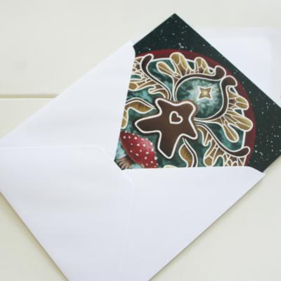 Christmas Gingerbread Meeple Faerie featuring Toadstools - Card in Envelope - Pixie Gen Logo, Digital Painting by Imogen Smid