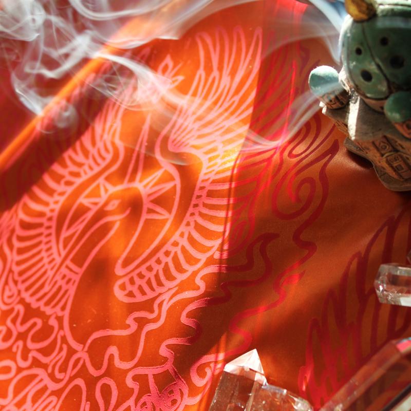 Phoenix Altar Cloth Benu Ibis Phoenix with Myrrh, Cinnamon and a Sun Beam Halo in reference to Greek Titan Helios - Orange Satin Phoenix Cloth with Incense - Hand Printed with Hand Carved Lino Stamp