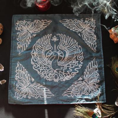 Phoenix Altar Cloth Benu Ibis Phoenix with Myrrh, Cinnamon and a Sun Beam Halo in reference to Greek Titan Helios - Petrol Blue Taffeta Full Cloth - Hand Printed with Hand Carved Lino Stamp