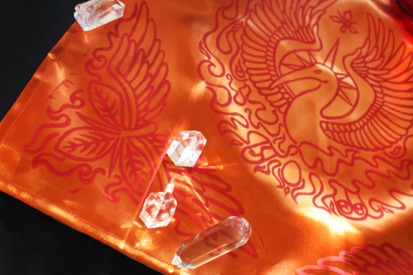 Phoenix Altar Cloth Benu Ibis Phoenix with Myrrh, Cinnamon and a Sun Beam Halo in reference to Greek Titan Helios - Orange Satin Phoenix Cloth with Red Print and Crystals - Hand Printed with Hand Carved Lino Stamp