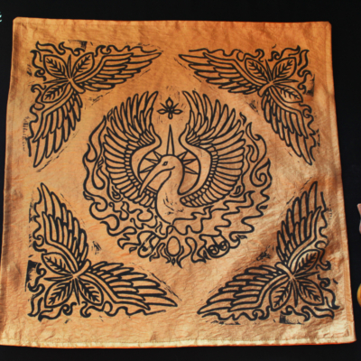 Phoenix Altar Cloth Benu Ibis Phoenix with Myrrh, Cinnamon and a Sun Beam Halo in reference to Greek Titan Helios - Gold Coloured Taffeta Full Cloth - Hand Printed with Hand Carved Lino Stamp