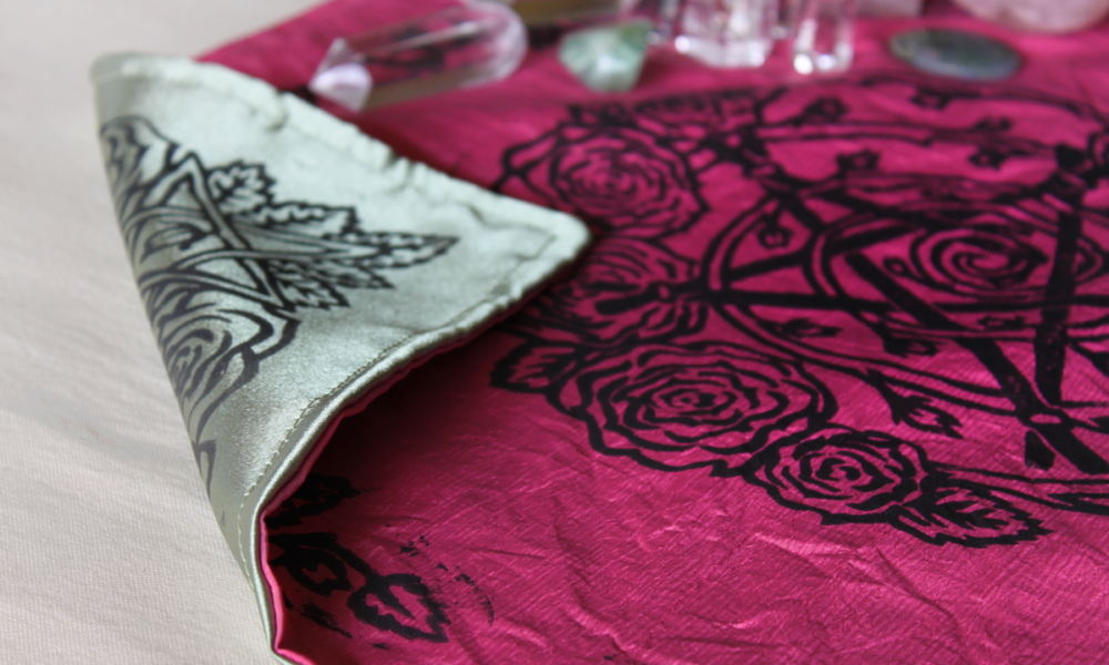 Pentagram and Roses Altar Cloth with Rosebud Spiral inspired by Greek Goddess Aphrodite - Pink Taffeta Altar Cloth showing Antique Green Satin Reverse Side - Hand Printed with Hand Carved Lino Stamp