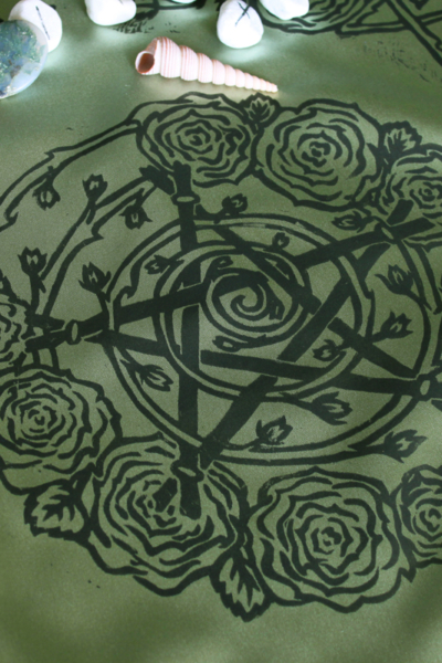 Pentagram and Roses Altar Cloth with Rosebud Spiral inspired by Greek Goddess Aphrodite - Antique Green Satin Cloth Centre Piece - Hand Printed with Hand Carved Lino Stamp