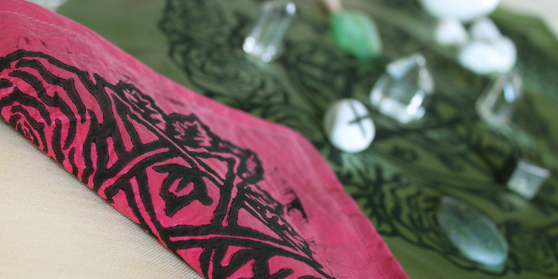 Pentagram and Roses Altar Cloth with Rosebud Spiral inspired by Greek Goddess Aphrodite - Antique Moss Satin Cloth showing Pink Taffeta Reverse Side - Hand Printed with Hand Carved Lino Stamp