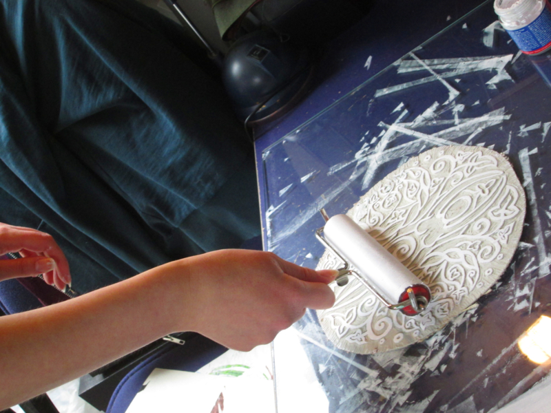 Spiral Goddess Altar Cloth Wiccan Mother Goddess with Triple Moon and Ivy Motif - Hand Carved Lino Stamp Printing in Progress - Hand Printed with Hand Carved Lino Stamp