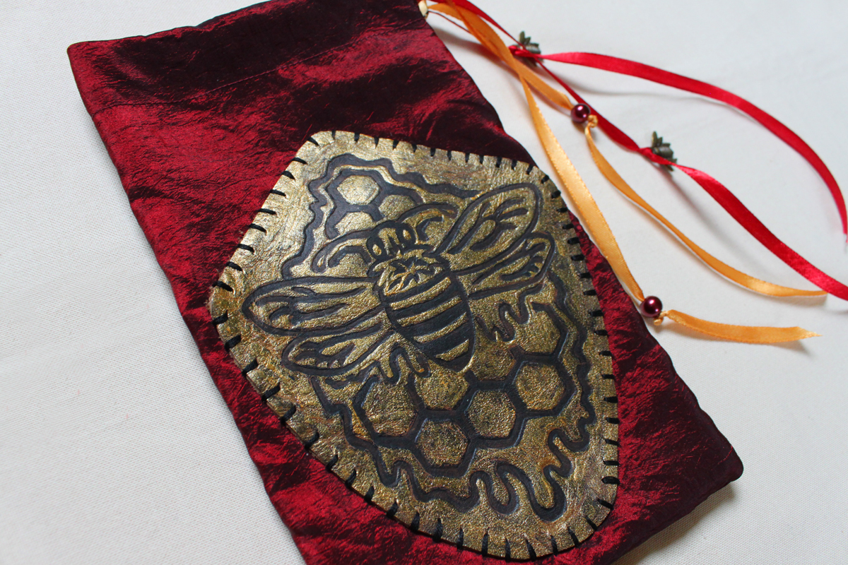 Royal Bee Pouch with Gold Painted Leather Patch Honey Bee with Honeycomb and dripping with Honey - Red Pouch with Gold Details - Hand Printed with Hand Carved Lino Stamp