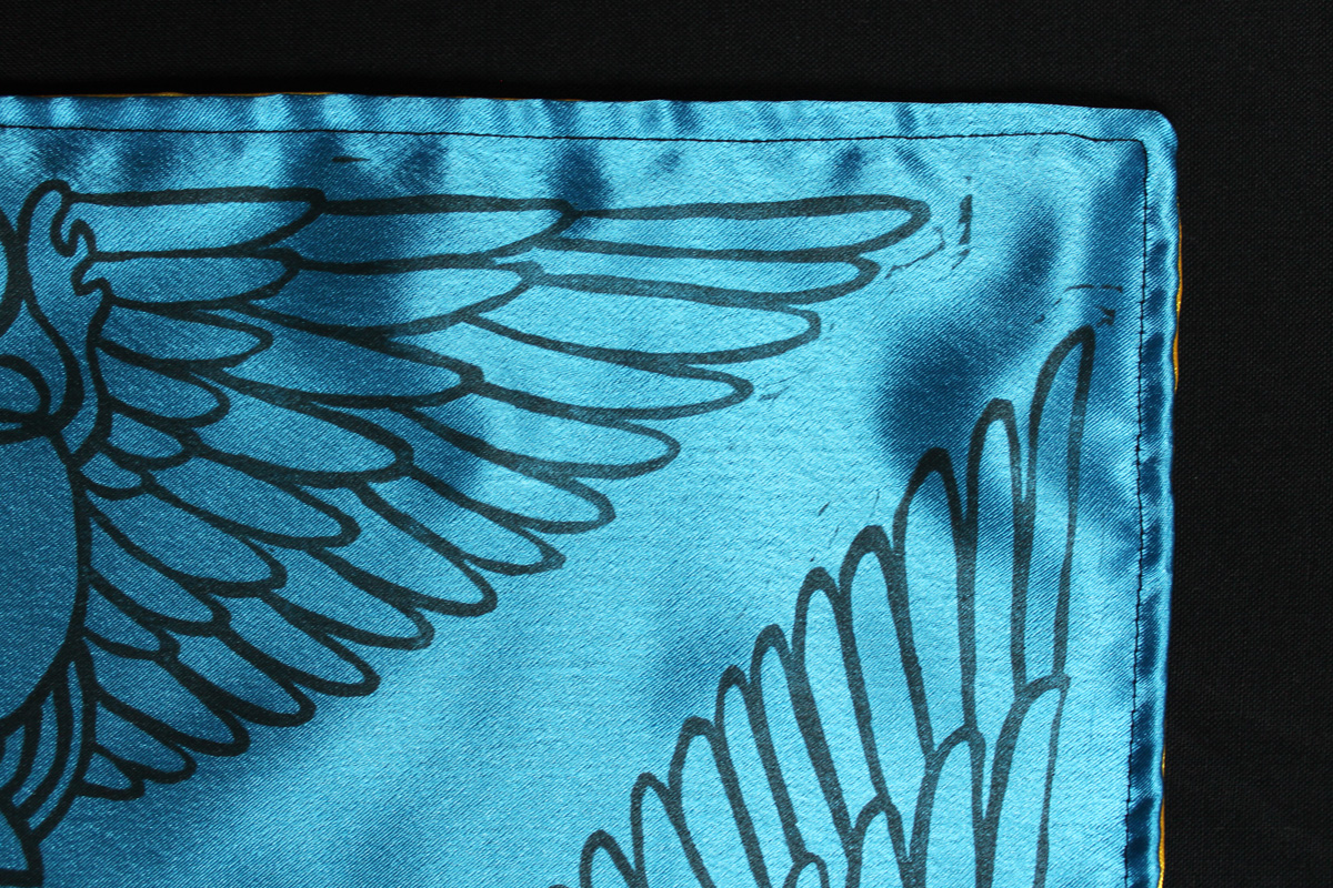 Scarab Altar Cloth Winged Scarab God Khepri with Sun Disc - Turquoise Satin Altar Cloth Corner Detail - Hand Printed with Hand Carved Lino Stamp