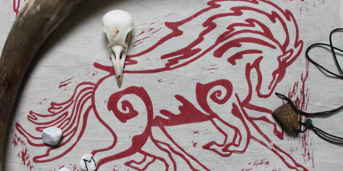 Odin's Familiars Altar Cloth featuring Sleipnir, Huginn and Muninn with Valknut - Unbleached Cotton with Sleipnir Print - Hand Printed with Hand Carved Lino Stamp