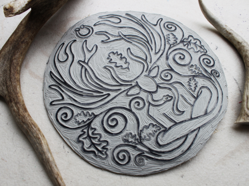 Cernunnos Altar Cloth Herne the Horned God Ancient Forest Fertillity Deity with Stag Antlers Celtic Torc Necklace, Snake and Oak Leaves - Hand Carved Lino Stamp - Hand Printed with Hand Carved Lino Stamp
