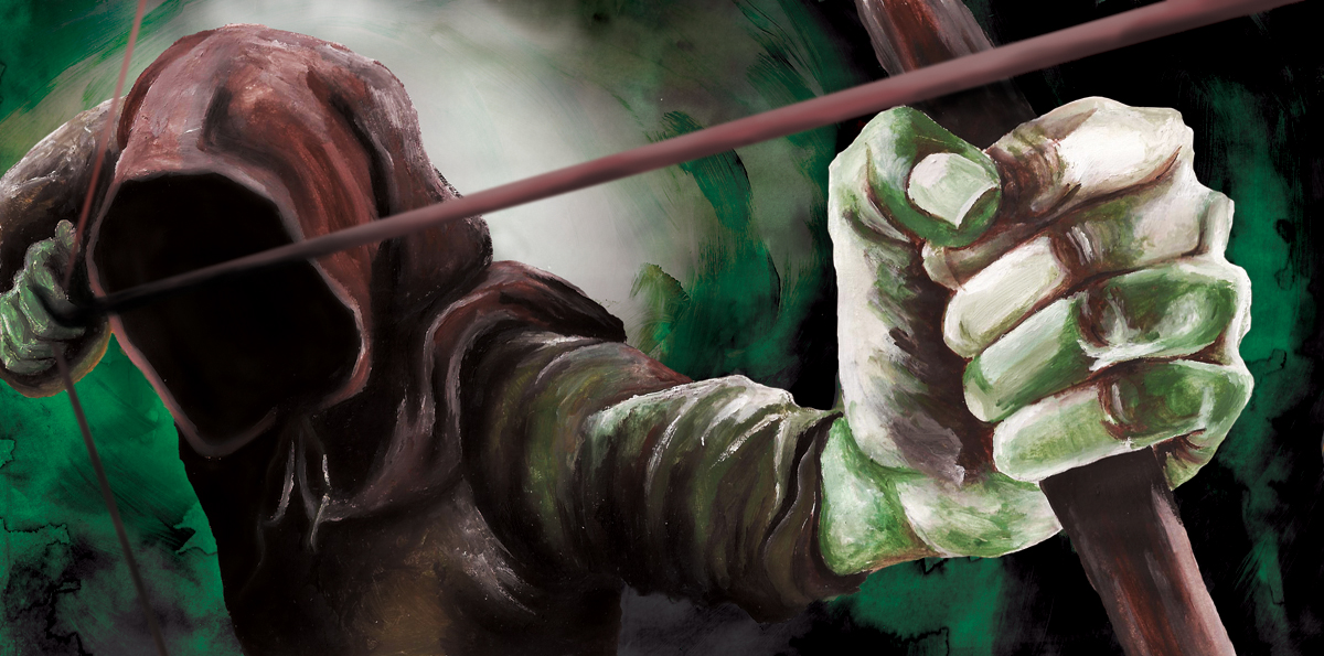 Legend CD Cover Unofficial Design Sountrack for the TV Series Robin of Sherwood about Folklore hero Robin Hood - Hooded Man Illustration - Acrylic Painting by Imogen Smid