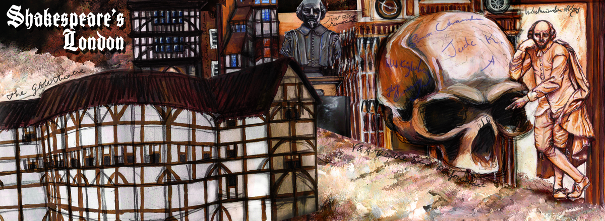 Shakespeare's London: A Travel Tour Leaflet of Shakespeare related locations in London featuring Westminster Abbey, Southwark Cathedral, The Globe Theatre and Others - Cover Illustration - Acrylic Paint and Pencil Drawing by Imogen Smid