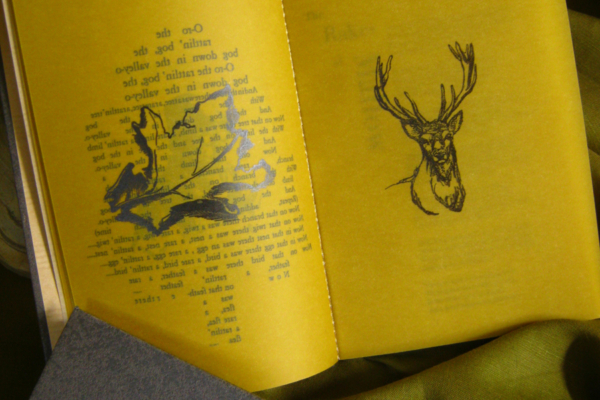 Sláinte - A Hand Printed and Hand Bound Book of Traditional British Folk Songs created using Metal Moveable Type and Stereotype Plates/Cliché Plates - Stag and Lead Leaf Illustrations - Bookmaking by Imogen Smid and Anouk Essers
