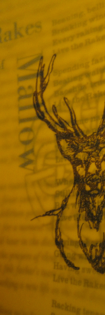 Sláinte - A Hand Printed and Hand Bound Book of Traditional British Folk Songs created using Metal Moveable Type and Stereotype Plates/Cliché Plates - Stag Illustration - Bookmaking by Imogen Smid and Anouk Essers