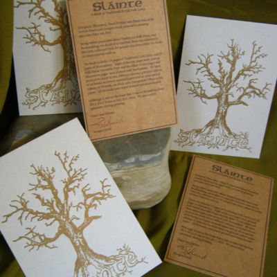 Sláinte - A Hand Printed and Hand Bound Book of Traditional British Folk Songs created using Metal Moveable Type and Stereotype Plates/Cliché Plates - Prints and Info Cards - Bookmaking by Imogen Smid and Anouk Essers