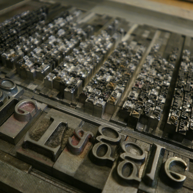Sláinte - A Hand Printed and Hand Bound Book of Traditional British Folk Songs created using Metal Moveable Type and Stereotype Plates/Cliché Plates - Metal Moveable Type Design for Raggle Taggle Gypsy - Bookmaking by Imogen Smid and Anouk Essers