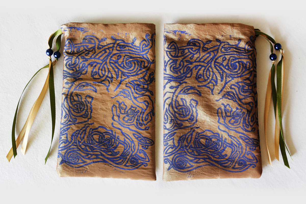 Celtic Tree Pouch Celtic Knotwork Motif Tree with Leaves - Gold Coloured Taffeta Pouch with Blue Print and Green Details - Hand Printed with Hand Carved Lino Stamp