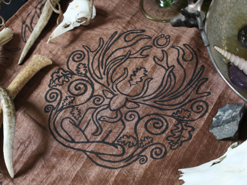 Cernunnos Altar Cloth Herne the Horned God Ancient Forest Fertillity Deity with Stag Antlers Celtic Torc Necklace, Snake and Oak Leaves - Brown Taffeta Cloth - Hand Printed with Hand Carved Lino Stamp