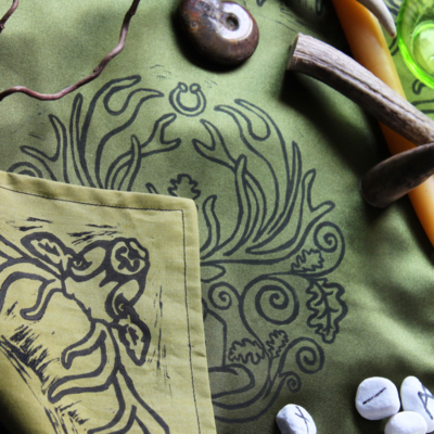 Cernunnos Altar Cloth Herne the Horned God Ancient Forest Fertillity Deity with Stag Antlers Celtic Torc Necklace, Snake and Oak Leaves - Green Cloth Folded Stag Corner - Hand Printed with Hand Carved Lino Stamp