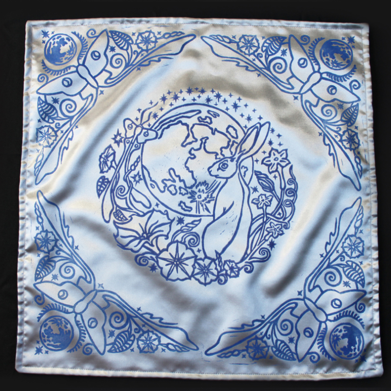 Moongazing Hare Altar Cloth with Full Moon, Moon Moth or Lunar Moth, Stars and Moon Flowers - Silver Satin Cloth with Blue Print - Hand Printed with Hand Carved Lino Stamp
